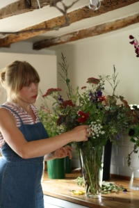Arranging summer grown flowers