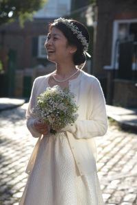 Autumn bridal bouquet and wedding crown