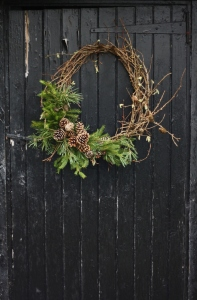 Cone, pine and hazel christmas wreath
