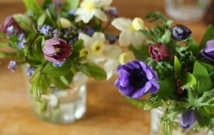 Mayday jam jar posies and table arrangements