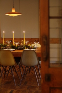 Midwinter supper centrepiece and table runner