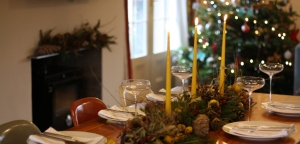 Midwinter tablescape and fireplace garland