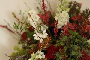 Pink and white achillea, gaura and grasses bouquet