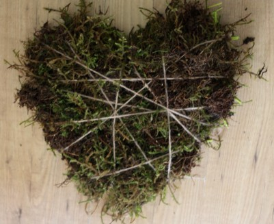 Willow frame and moss based heart.